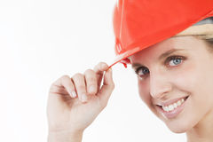 Beautiful woman with helmet Royalty Free Stock Photos