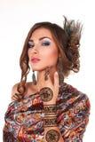 Beautiful woman with henna tattoo mehendi Stock Photos