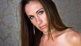 Beautiful Woman in her 20's. A portrait of a beautiful woman wearing silver jewelry Stock Images