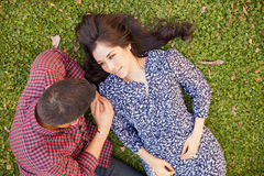 Beautiful woman and her boyfriend Royalty Free Stock Photos