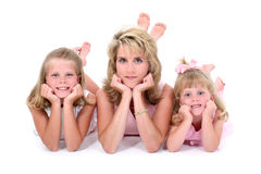 Beautiful Woman With Her Daughters Over White Stock Photography