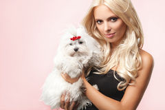 Beautiful Woman with her dog. Portrait of a woman with her beautiful dog Stock Photo