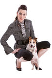 Beautiful woman and her dog Stock Photography