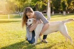 Beautiful woman with her dog. Labrador retriever Stock Image