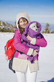 Beautiful woman and her dog in the mountain Royalty Free Stock Photos