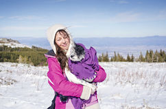 Beautiful woman and her dog in the mountain Stock Photos