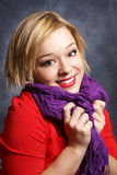 Beautiful Woman and Her Scarf Royalty Free Stock Photo