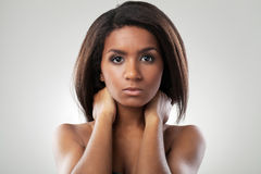 Beautiful woman with her shoulders naked closeup Royalty Free Stock Photos