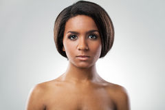 Beautiful woman with her shoulders naked closeup stock image