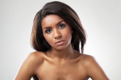 Beautiful woman with her shoulders naked closeup Stock Photography