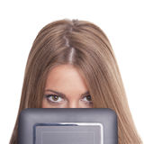 Beautiful Woman Hiding Face With Tablet Computer Stock Photo