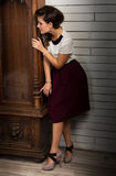 Beautiful woman hiding Stock Image