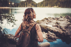 Beautiful woman hiker near Gruner See, Austria Stock Photography