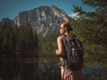Beautiful woman hiker near Gruner See, Austria Royalty Free Stock Photo