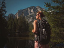 Beautiful woman hiker near Gruner See, Austria Royalty Free Stock Images