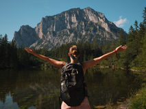 Beautiful woman hiker near Gruner See, Austria Royalty Free Stock Photography