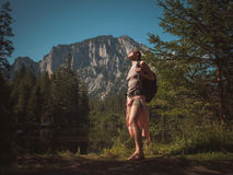 Beautiful woman hiker near Gruner See, Austria Stock Image