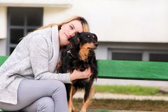 Beautiful woman with his small mixed breed dog sitting and posing in front of camera on wooden bench at city park. royalty free stock photos