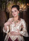 Beautiful woman in historic medieval dress Royalty Free Stock Photo