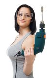 Beautiful woman hold drill Stock Photos