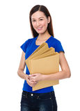 Beautiful woman hold with folder Stock Images