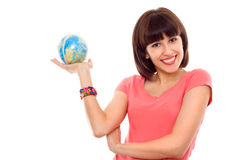 Beautiful woman hold globe in hands isolated Royalty Free Stock Photos