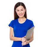Beautiful woman hold with laptop computer Royalty Free Stock Photos