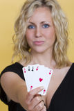 Beautiful Woman Holding All The Aces Playing Cards Stock Image