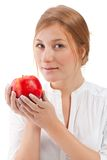 Beautiful woman holding apple Stock Photography