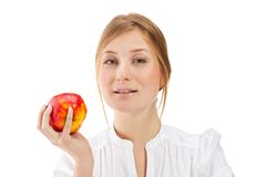 Beautiful woman holding apple Royalty Free Stock Images
