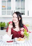 Beautiful woman holding apple Royalty Free Stock Photo