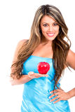 Beautiful woman holding an apple Royalty Free Stock Photography