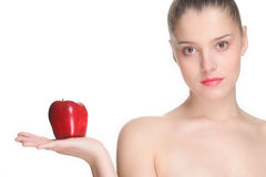 Beautiful woman holding an apple Royalty Free Stock Images