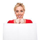 Beautiful Woman Holding Bag With Copy Space Royalty Free Stock Photos