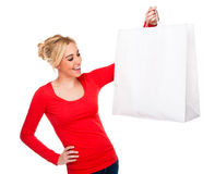 Beautiful Woman Holding Bag With Copy Space Stock Photography
