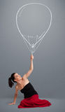 Beautiful woman holding balloon drawing Royalty Free Stock Photos