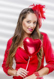 Beautiful woman holding balloon Stock Photos