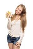 Beautiful woman holding banana Royalty Free Stock Photo