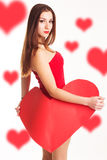 Beautiful woman is holding big paper red heart Stock Images