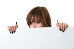 Beautiful woman holding a billboard. Stock Images