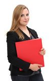 Beautiful woman holding binder royalty free stock images