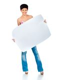 Beautiful woman holding a blank Stock Photography