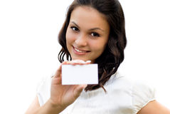 Beautiful woman holding blank business card Royalty Free Stock Photos