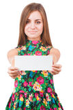 Beautiful woman holding a blank Royalty Free Stock Photography