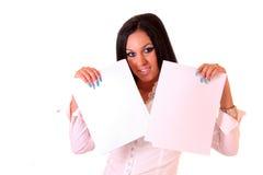 beautiful woman holding a blanks Stock Photo