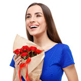 Beautiful woman holding bouquet of roses Royalty Free Stock Photo