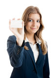 Beautiful woman holding a business card Royalty Free Stock Photos