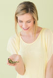 Beautiful Woman Holding Butterfly In Palm Stock Photography