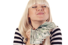 Beautiful woman holding cash Royalty Free Stock Photography