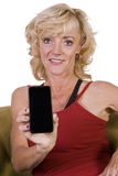Beautiful Woman Holding a Cell Phone Stock Photos